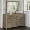 Highlands 7 Drawer Dresser in Driftwood with optional mirror.