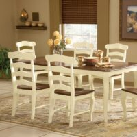 Country French Ladderback Dining Chair. White with Espresso seat.