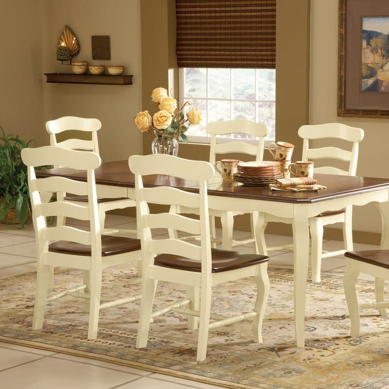 Country French Ladderback Dining Chair White With Espresso Seat