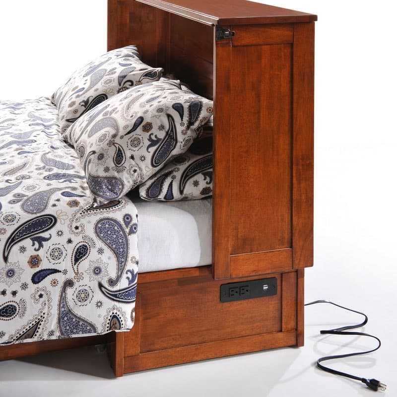 Clover Murphy Bed Cabinet In Cherry With Usb Bedside Charger