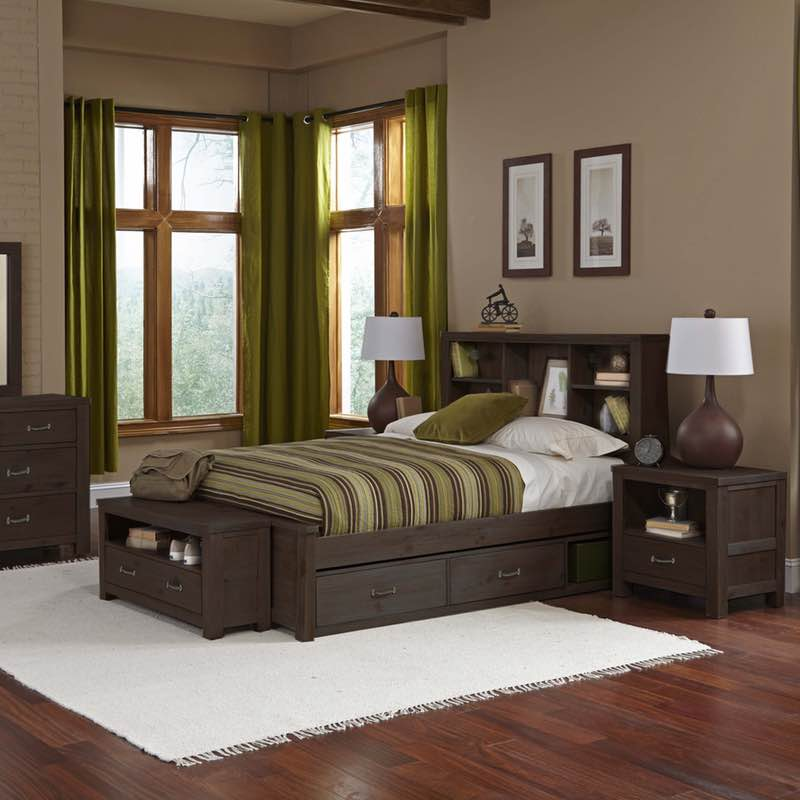 Highlands Espresso Twin Bookcase Bed Bedroom Set