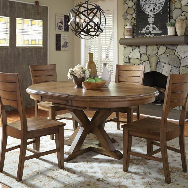 Canyon Pecan Extension Pedestal Dining Table