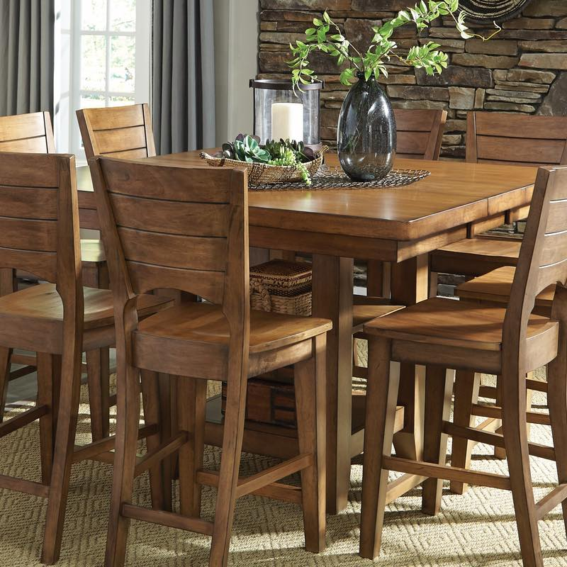 Canyon Pecan Extension Pub Table with Storage