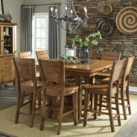 Canyon Pecan Extension Pub Table with Storage and Fan Back Pecan Counter Stools