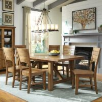 Canyon Pecan Extension Dining Table and Canyon Fan Back Dining Side Chair