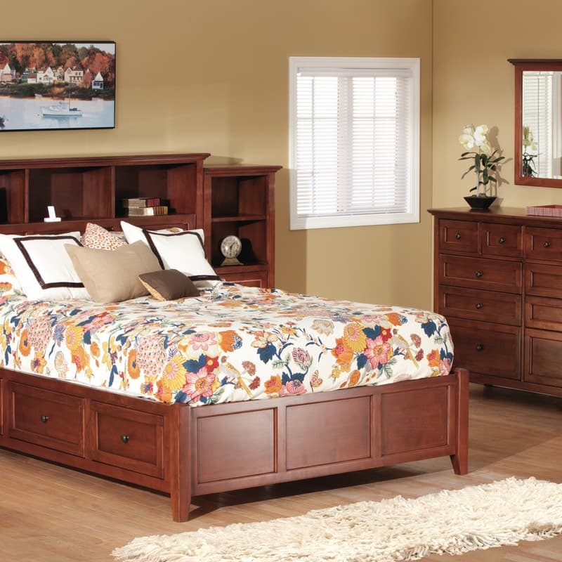 Whittier Wood McKenzie Glazed Cherry Bookcase Queen Storage Bedroom Set