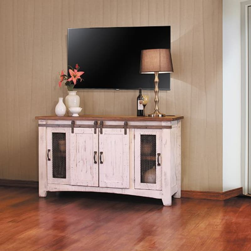 The Pueblo White Barn Door Tv Stand Is Solid Wood And Rustic