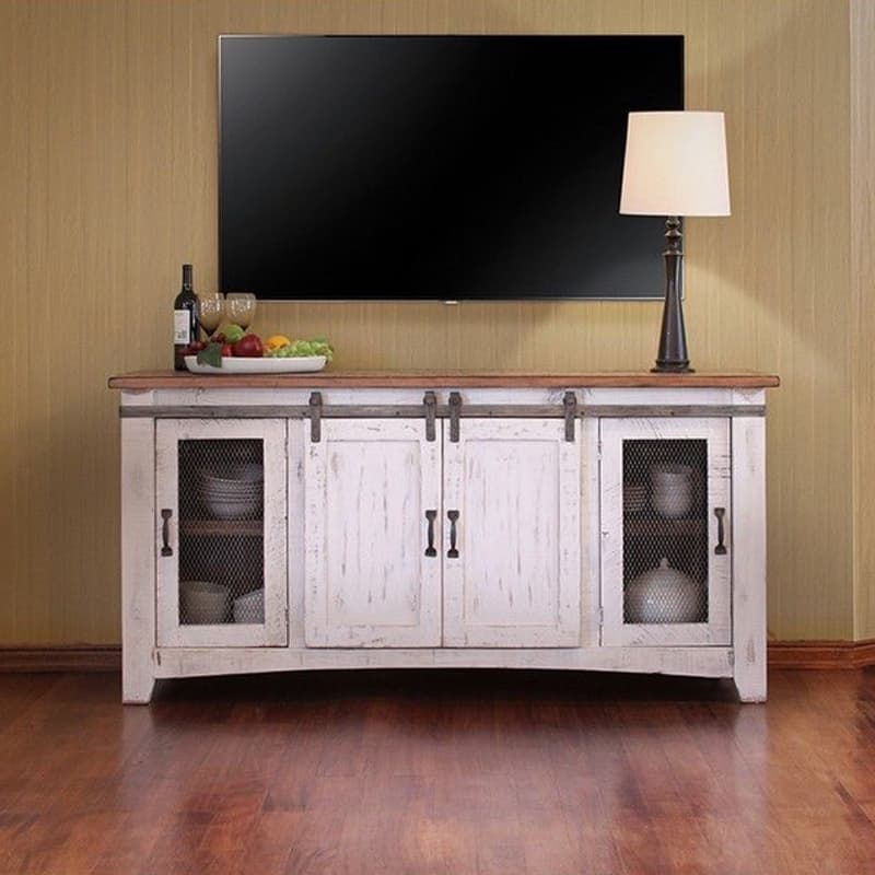 80 Inch Wide Pueblo White Barn Door Tv Stand