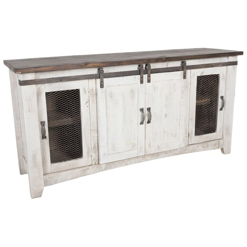 Pueblo White Barn Door TV Stand