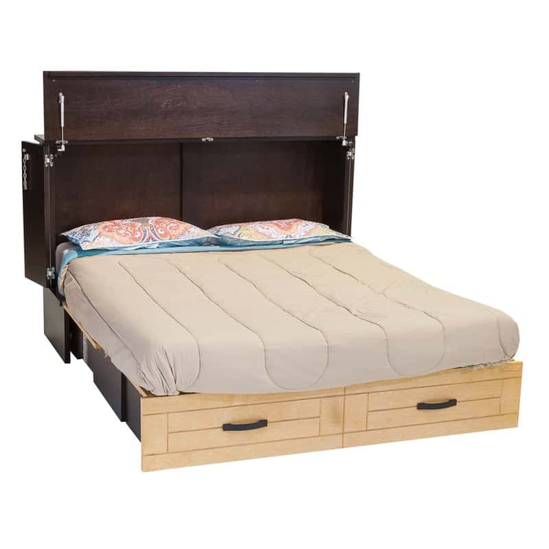 The Metro Cabinet Bed has a modern style in real wood.