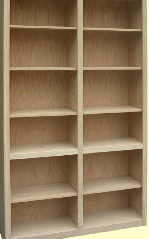 48-inch--Wide-Bookcase has a center divider with adjustable shelves on both sides