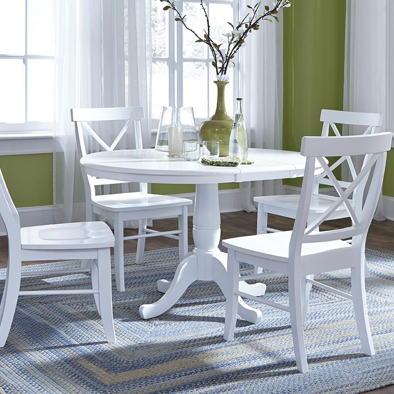 John Thomas Dining Essentials Bright White Table Set C08-613 T08-36rt