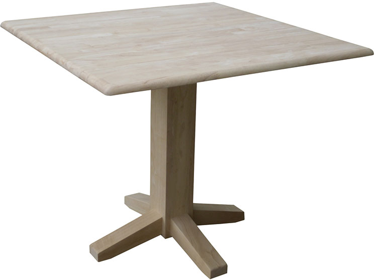 Whitewood Square Dropleaf Pedestal Table-Free Shipping