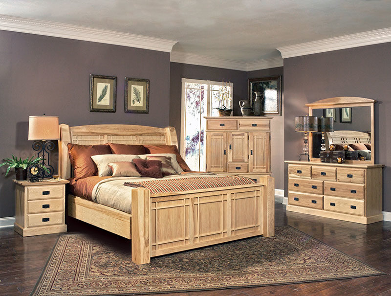A America Solid Hickory Amish-highlands-Panel-Bed