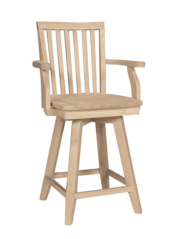 Mission Swivel Arm Counter Or Bar Stool, Unfinished Furniture Stools