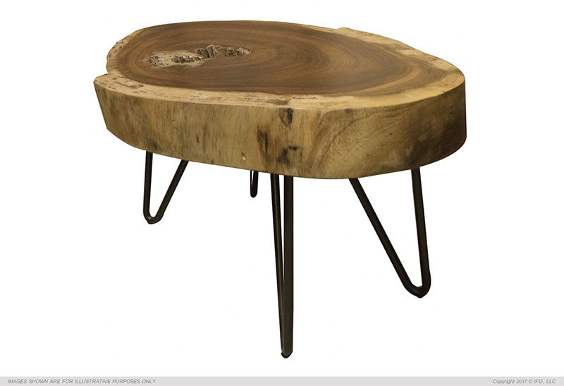 The Vivo Live Edge Short Side Table Is Solid Parota Wood
