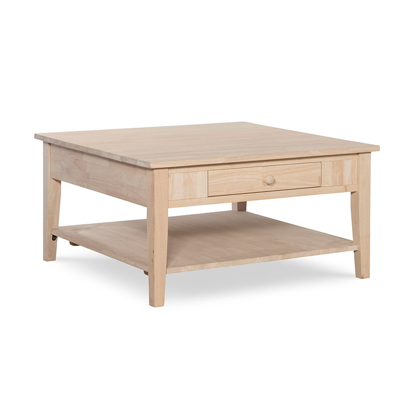 The Whitewood Spencer Square Coffee Table Is Solid Wood With Drawers