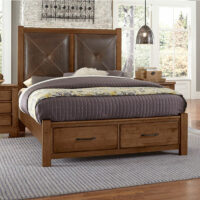 Cool Rustic Leather End Storage Bed Amber Finish Artisan & Post