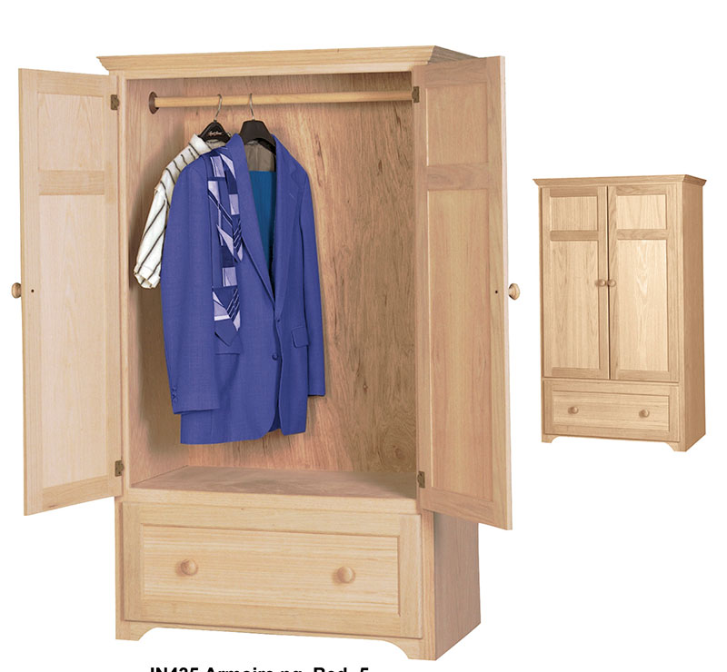 The Storage Cabinet Wardrobe Armoire Features Hanging Rod