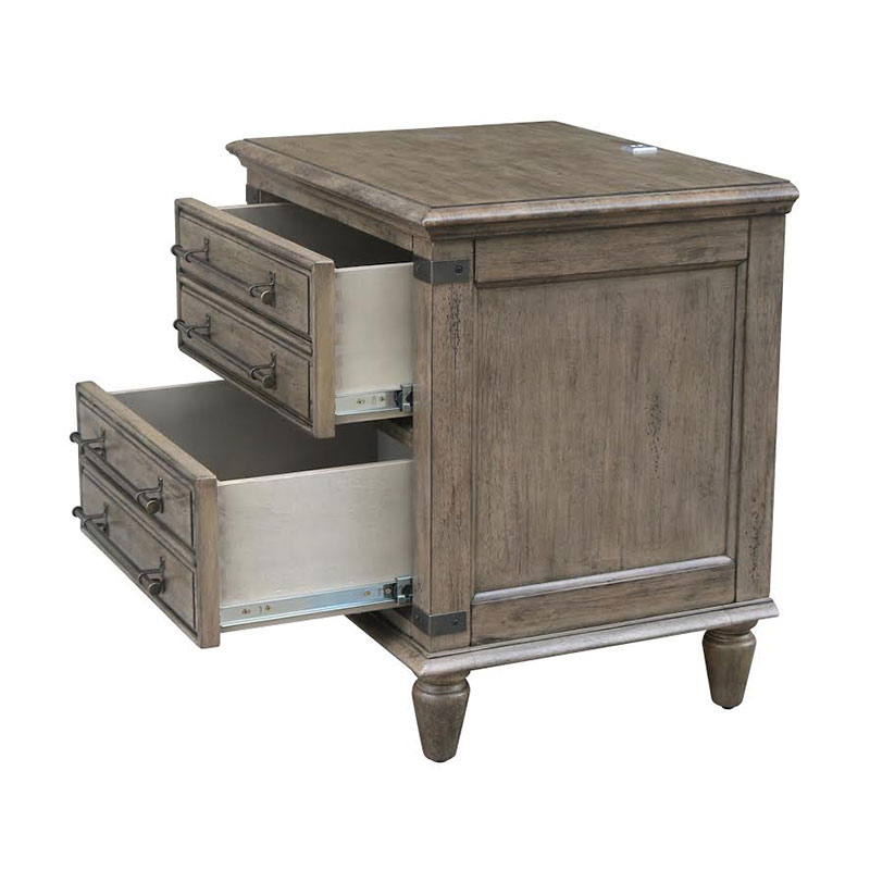 The Farmhouse Chic 2 Drawer Nightstand Features Iron Accents
