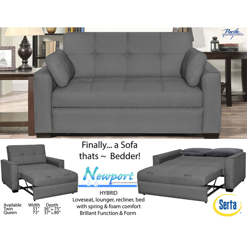 Serta Newport Convertible Sofa Bed and Lounger