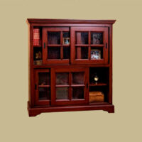 4 door bookcase with sliding doors 144